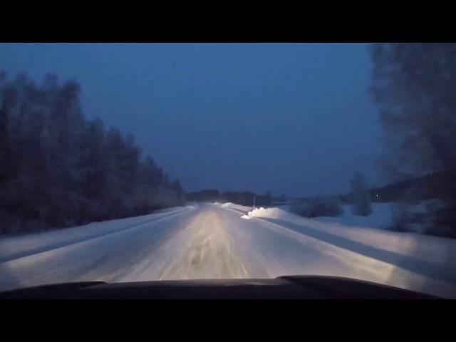 Køretur gennem Sverige til Polarcirklen på 1 minut.