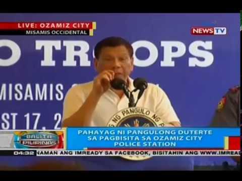 BP: Pahayag ni Pangulong Duterte sa pagbisita sa Ozamiz City police station