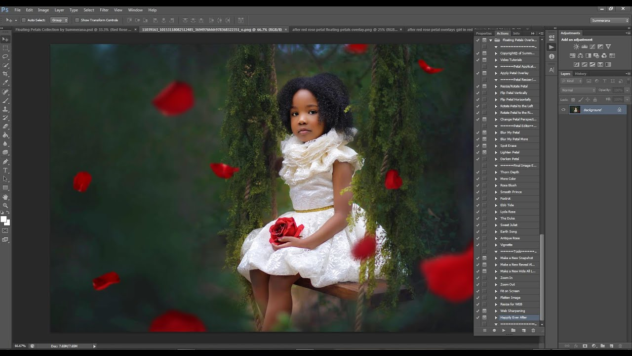 How to Add Petal Overlays in Photoshop and PSE- Flower Petal Overlay  Preview and Tutorial