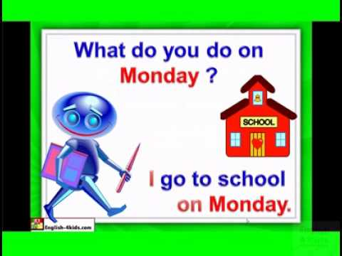 English for children,ESL Kids Lessons - Days of the week, Monday ...