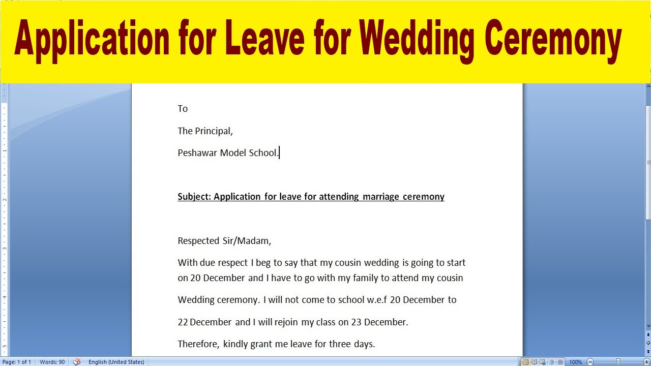 Three Days Marriage Leave Application For School How To Write Marriage Leave Application In English Youtube