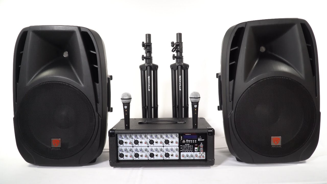 Rockville Rpg2x15 Package Pa System Mixer Amp 15 Quot Speakers Stands Mics Bluetooth Youtube