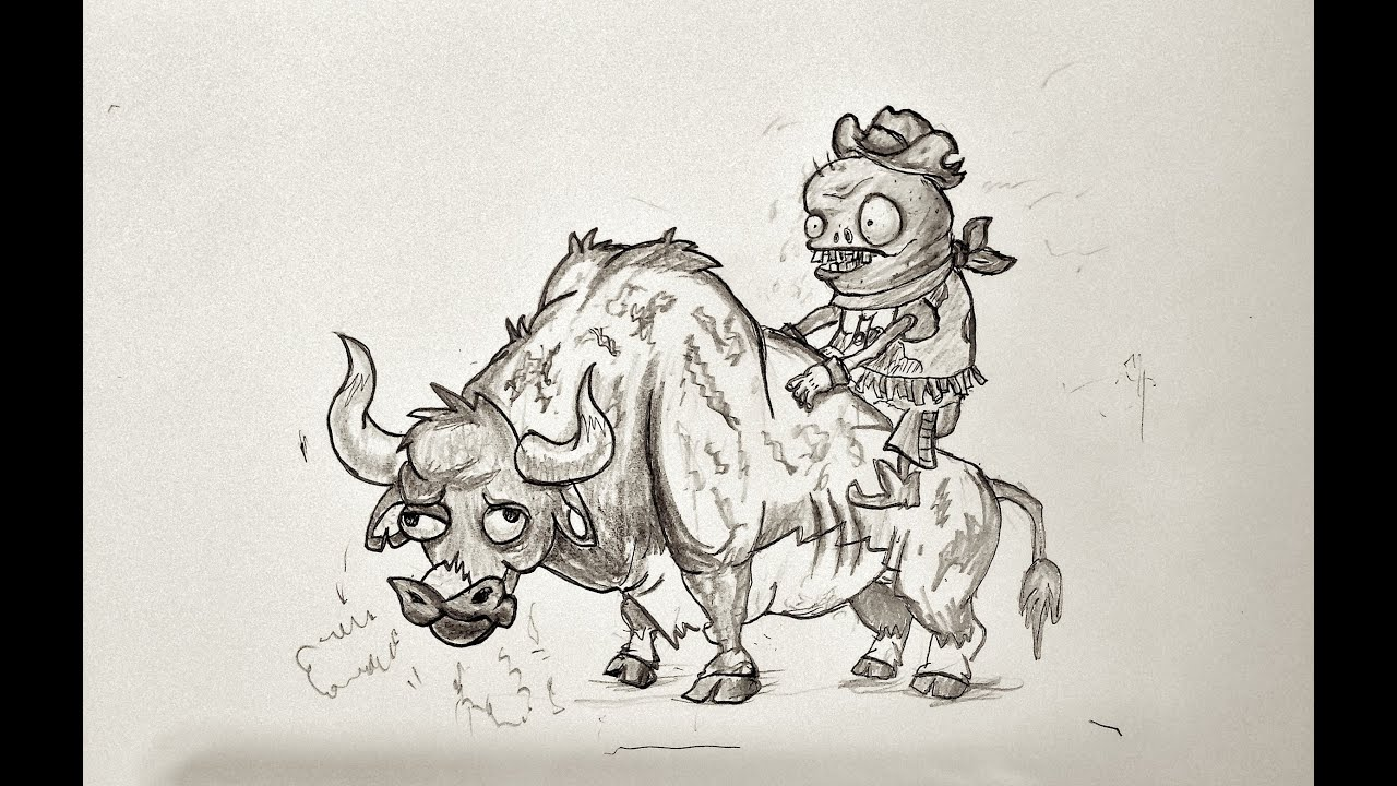 Zombie Face Line Drawing : Speerd draw zombie bull rider pvz 2 youtube
