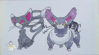 Drawing Pokemon: No. 431 Glameow, No. 432 Purugly