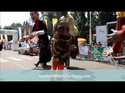 GIANT MATCH Puppets dance in the street, 8 April 2014 - Emmarentia, Johannesburg