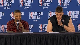Damian Lillard & Meyers Leonard postgame reaction | Warriors vs Blazers Game 4