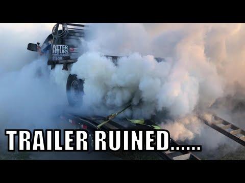 TRAILER BURNOUT WITH CUMMINS DIESEL+ NITROUS!!!!!