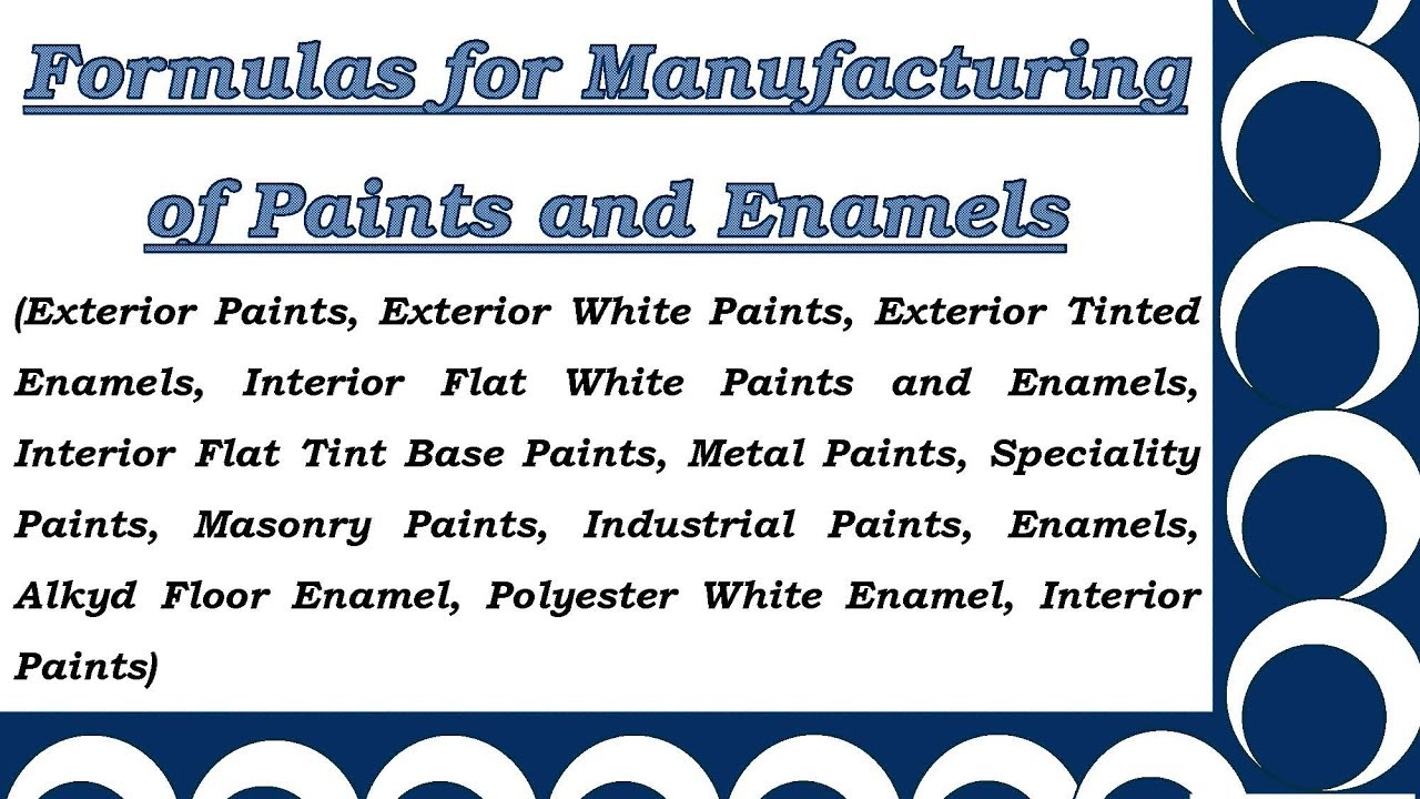 Formulas for Manufacturing of Paints and Enamels - YouTube