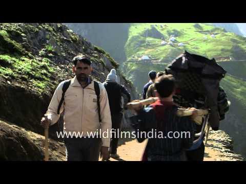 Indian pilgrims heading towards Amarnath cave from Dhomail - India