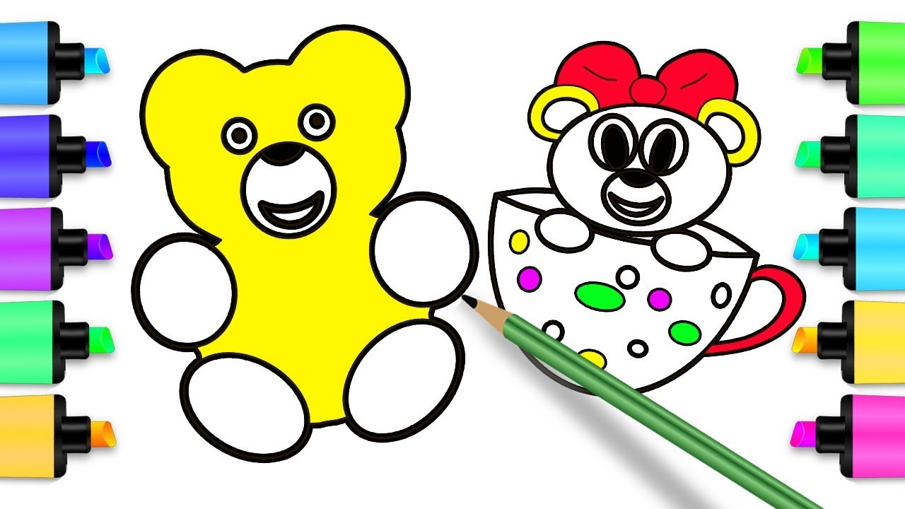 Coloring Gummy Bear - How to Draw Bear Coloring Pages & Drawing for ...