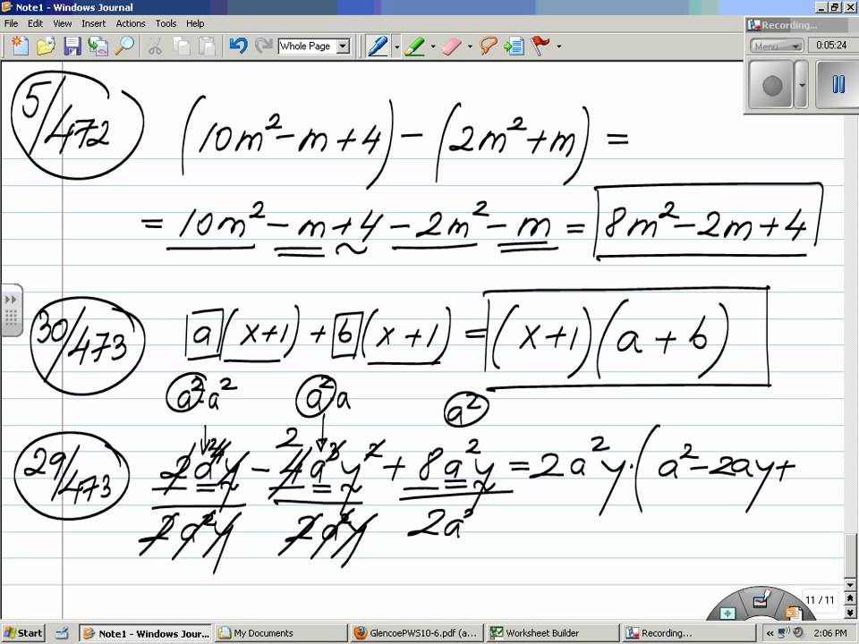Polynomials Adding/Subtracting Factoring /Solving Quadratic ...