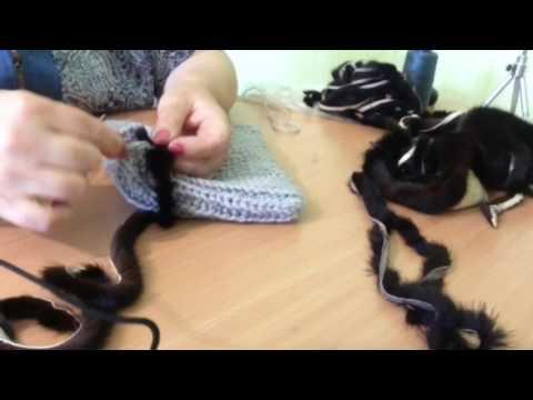 Видео как связать шапку из меха норки своими руками мастер класс