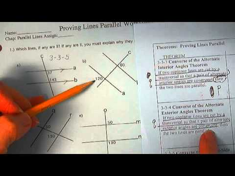 Proving Lines Parallel Worksheet Solutions Youtube