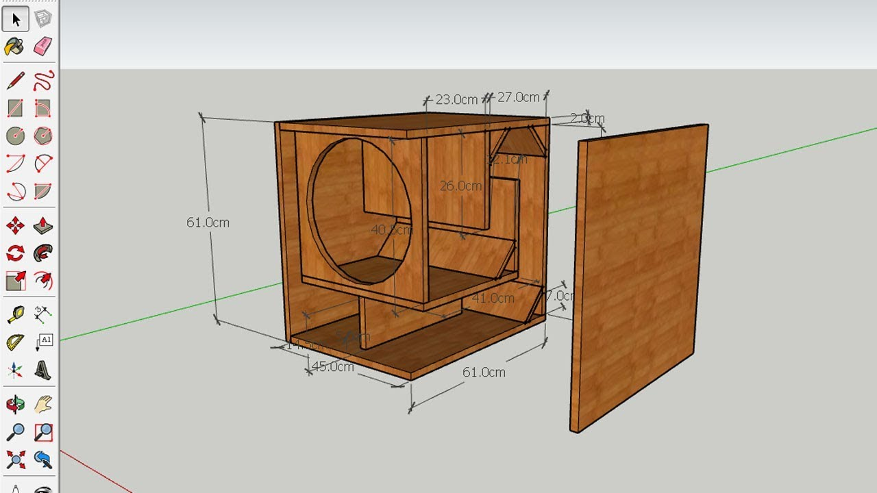 How to design Subwoofer Box 9 Inches speaker in sketchup pro