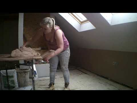 How to Plaster Plasterboard in loft subtitled plastering instructions