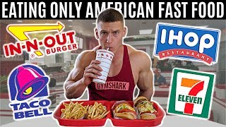 Eating only American fast food for 24 hours *British try American food*