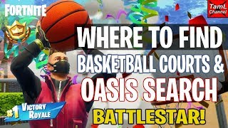 Fortnite: Where to find Basketball Courts & Oasis Search Battlestar! (Season 5 Week 2 Challenges)