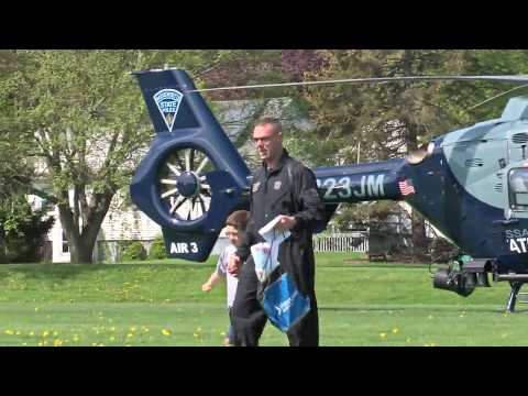 Massachusetts State Police Helicopter visits Meadow Brook School