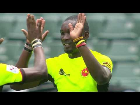Ramathan Govule with a try and fancy celebration in Hong Kong.