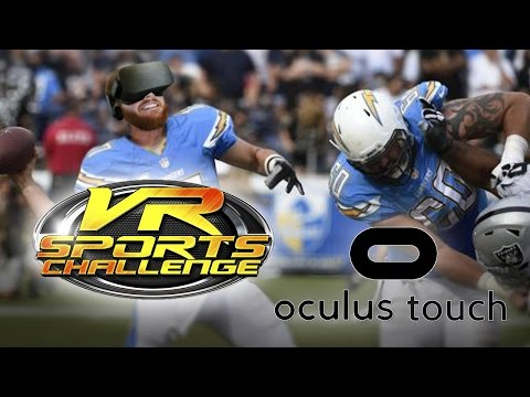 VR Sports Challenge! Oculus Touch quarterback football game - Roomscale VR throwing and receiving