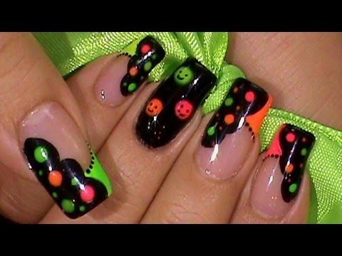 Neon Colors Happy Face Nail Art Design Tutorial - YouTube