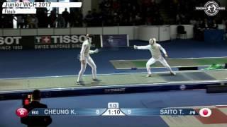 FE M F Individual Juniors Plovdiv BUL World Championships 2017 Final podium CHEUNG HKG vs SAITO JPN