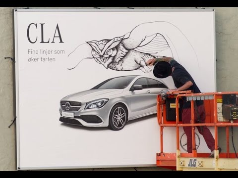Mercedes ads turned into art by illustrators in Oslo | JCDecaux Norway