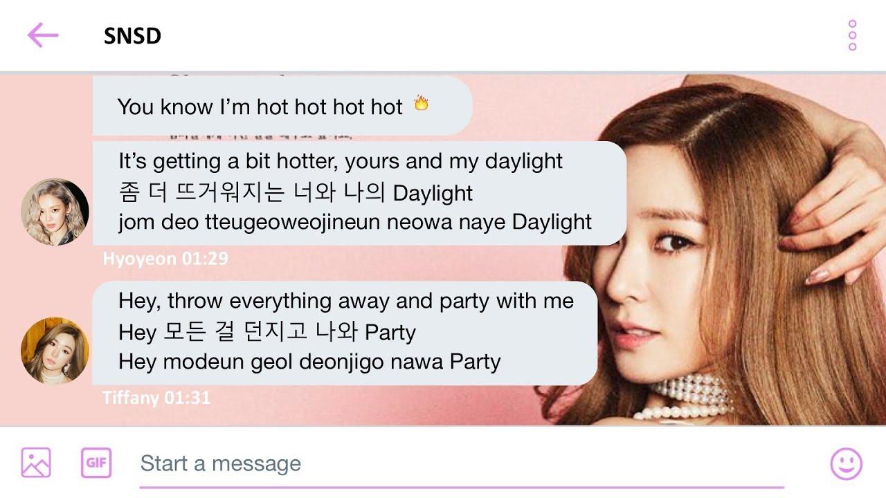 SNSD(소녀시대) - Holiday Lyrics (SNSD-themed Twitter chat) (Eng/Han/Rom)