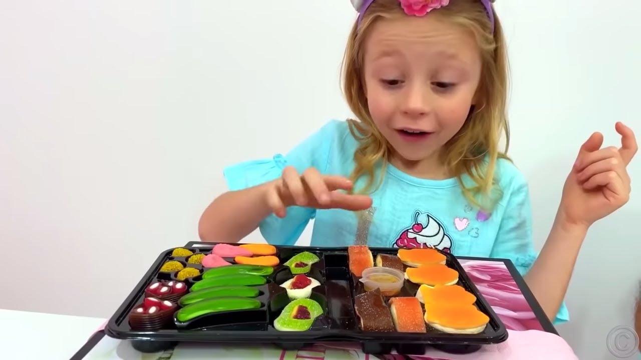 Nastya y Stacy intercambian dulces por juguetes nueva seriedivertida para niños