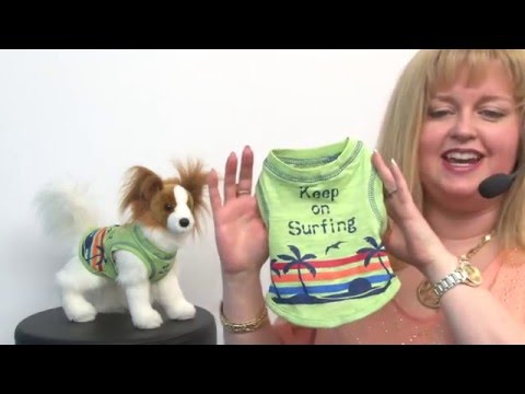 Keep on Surfing Dog Tank by Parisian Pet - Green