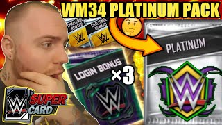 WRESTLEMANIA 34 PLATINUM PACK OPENING CHALLENGE PACKS LOGIN BONUSES WWE SuperCard Season 4