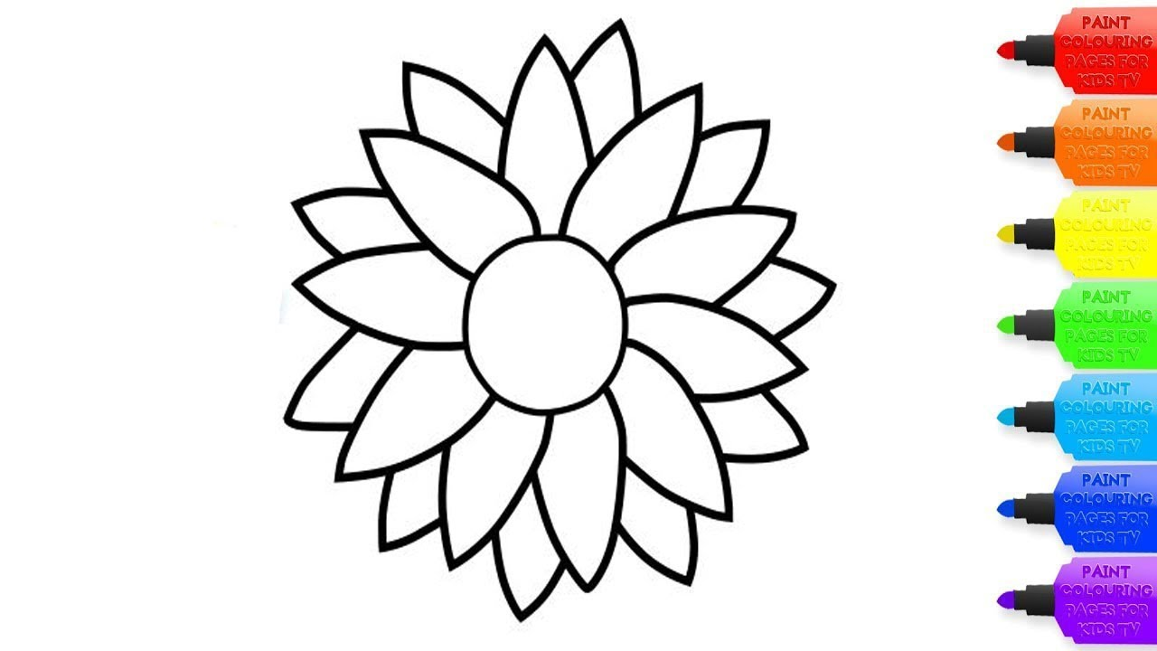 How to draw a Sunflower for kids – Sunflower coloring page ...