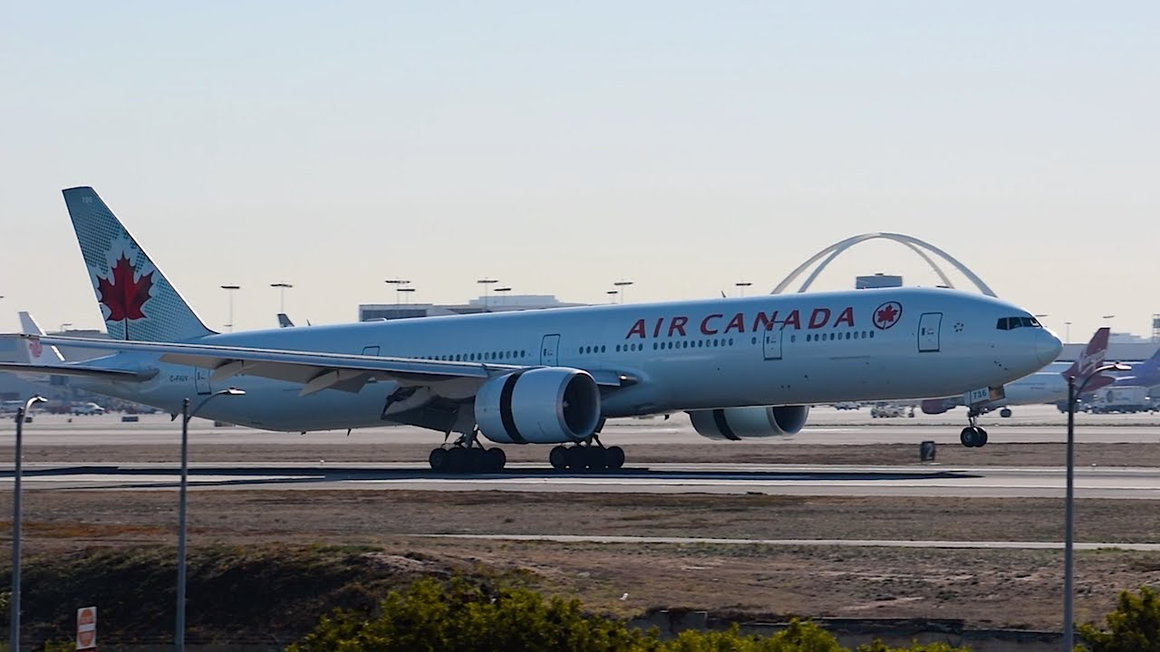 air canada boeing 777 300er c fiuv landing at lax youtube. Black Bedroom Furniture Sets. Home Design Ideas