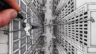 How to Draw using 1-Point Perspective: City Bird's Eye View Tightrope Walker