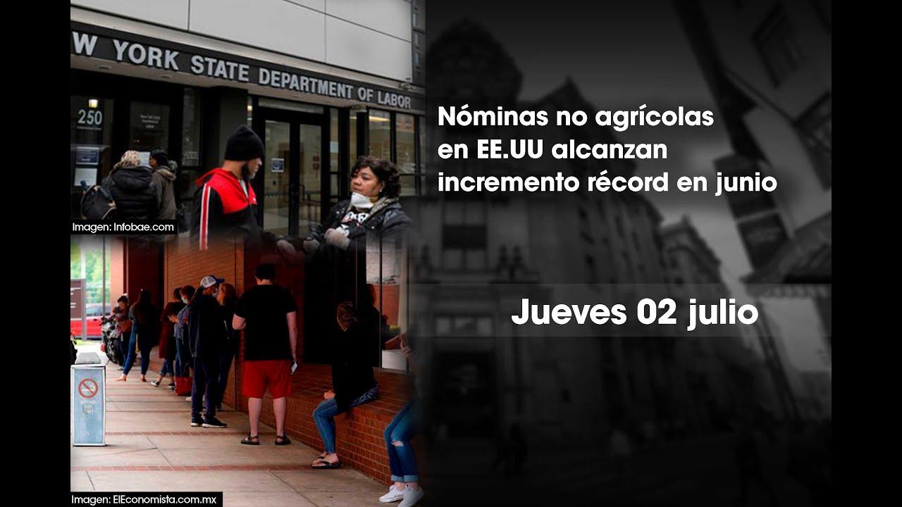 Nóminas no agrícolas alcanzan incremento récord en junio | Bolsa de Valores de Lima