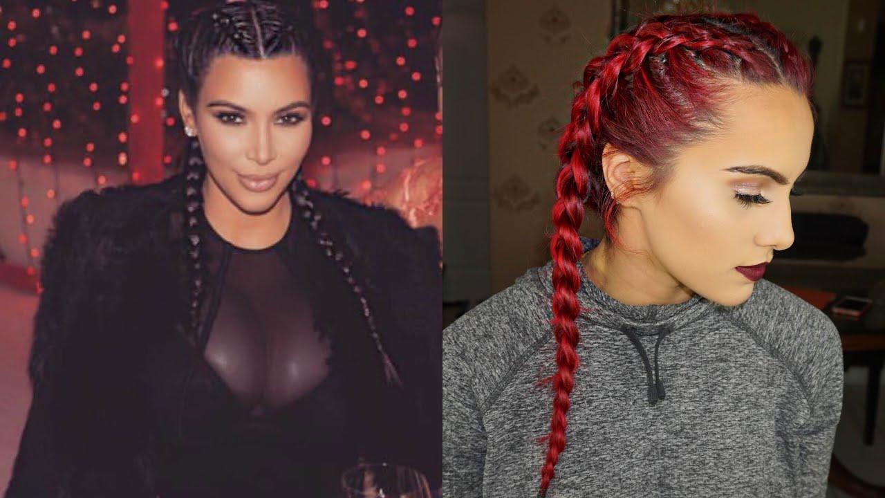 kim kardashian inspired dutch braids