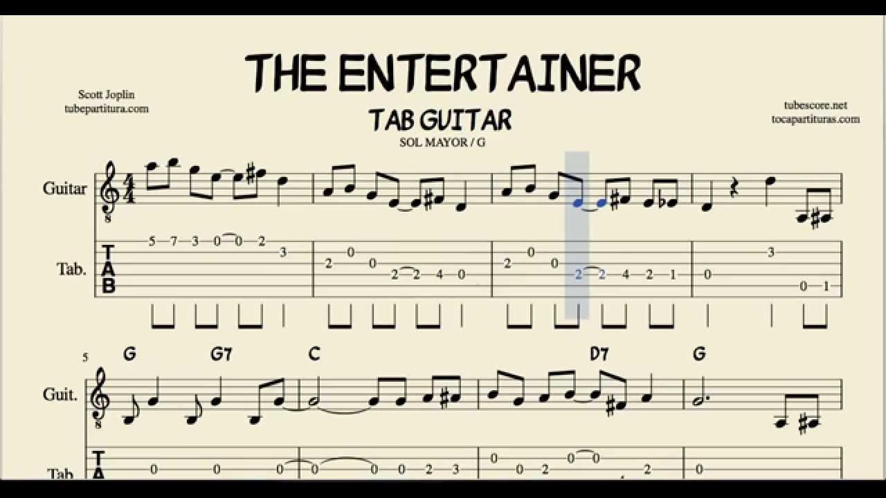 the entertainer in g major tabs sheet music for guitar with chords youtube. Black Bedroom Furniture Sets. Home Design Ideas