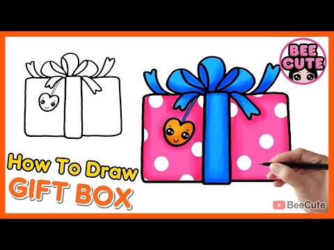 สอนวาดภาพกล่องของขวัญ | วาดรูประบายสีของขวัญวันเกิด | How to draw Gift Box | Bee Cute
