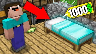 Minecraft NOOB vs PRO: WHY NOOB BOUGHT THIS DIAMOND BED FOR 1000$ ? Challenge 100% trolling