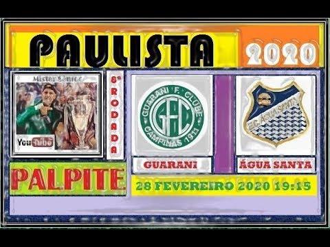 CAMPEONATO PAULISTA 2020 - 8ª RODADA - PALPITE - GUARANI X ÁGUA SANTA.