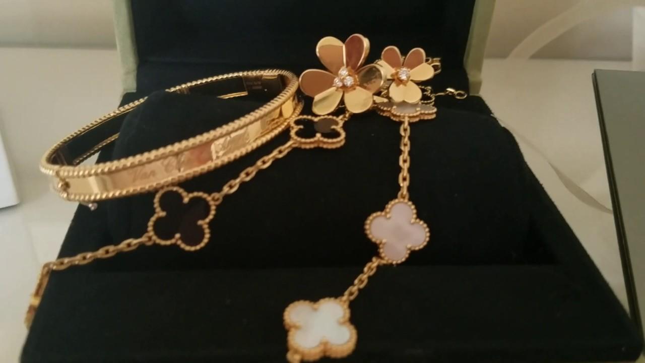 Van Cleef And Arpels Haul Perlee Bracelet With Alhambra Youtube