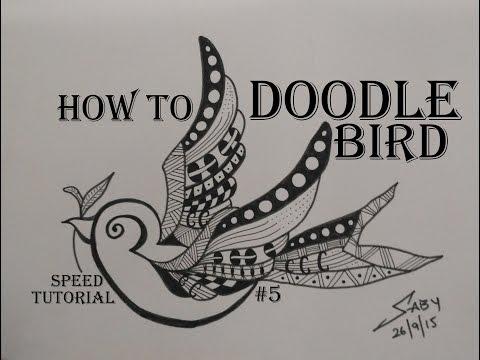 Zentangle Art Tutorial For Beginners, Draw Easy Bird Doodle Design