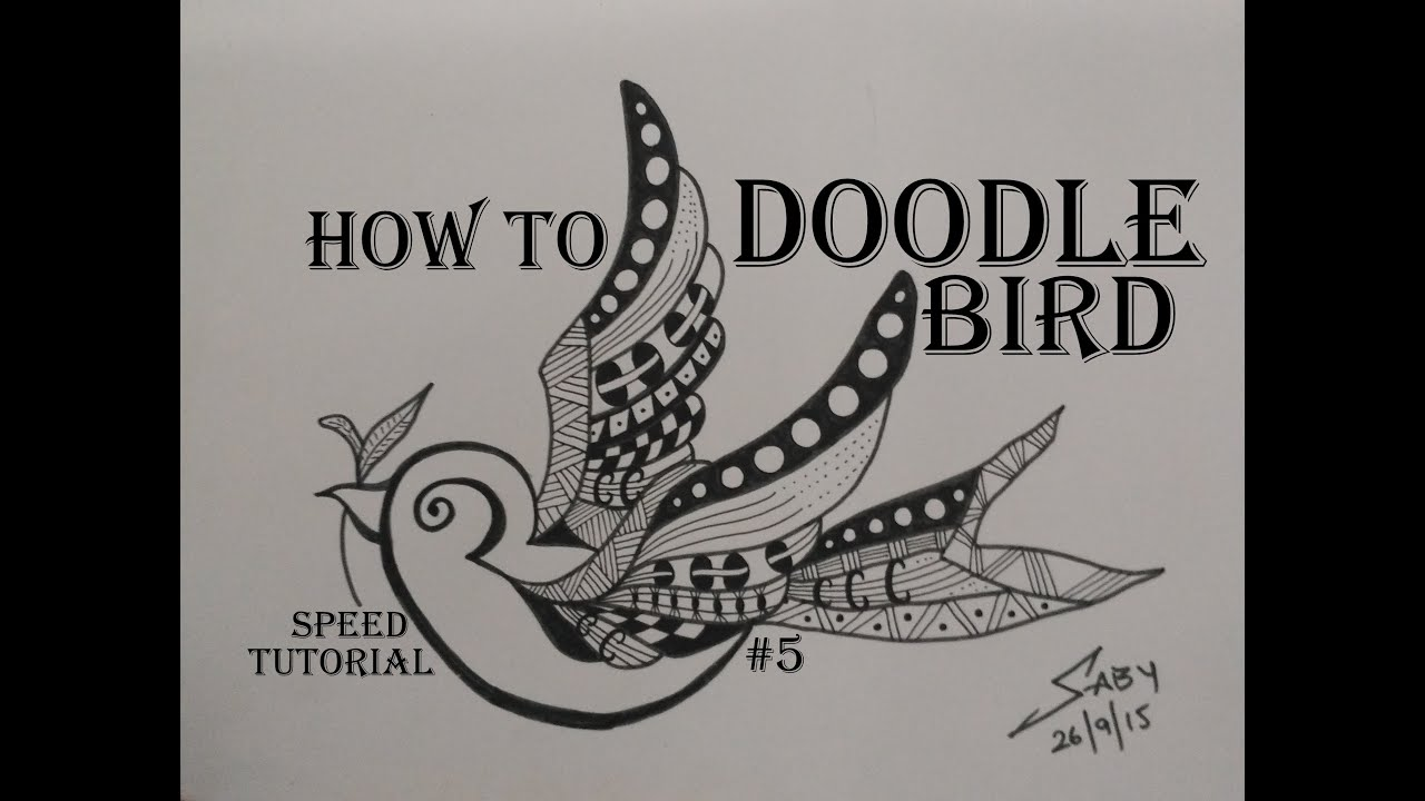 Zentangle Art Tutorial For Beginners Draw Easy Bird Doodle Design Speed Drawing How To