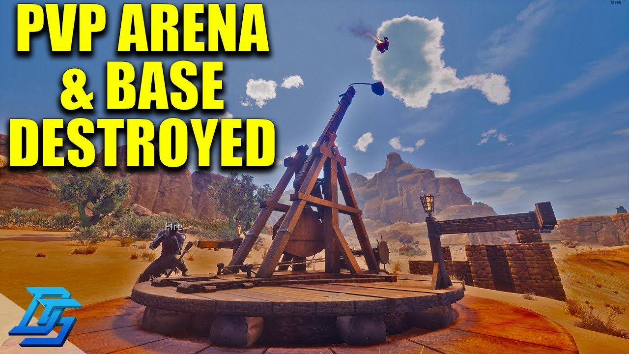 PVP ARENA FIGHT, BLOWING UP OUR BASE WITH TREBUCHET! - Conan