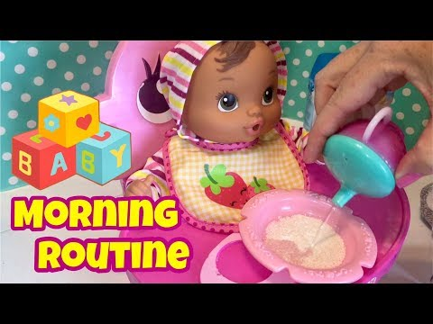 Baby Alive baby Love n Snuggle Abby feeding and morning routine