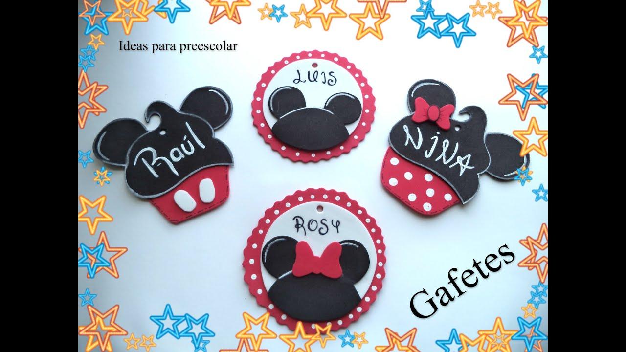Gafetes Mickey Y Minnie Para El Nuevo Ciclo Escolar Youtube