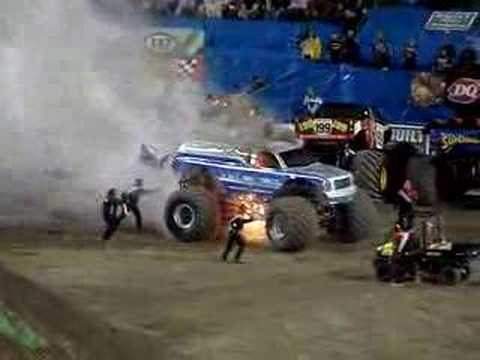 MONSTER TRUCK FIRE!! VERY EXCITING, MUST SEE!!! - YouTube
