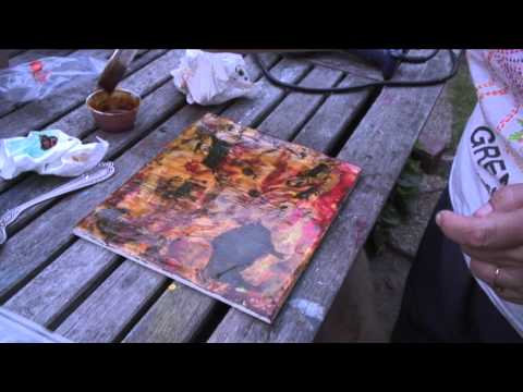 Encaustic painting and shellac burns - LMM artists DQ and Danielle