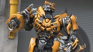 Bumblebee Transformer interacts with guests via radio at Universal Orlando