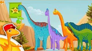 Мультики для детей - поезд динозавров. Большие динозавры приехали на поезде. Мультик про поезд.